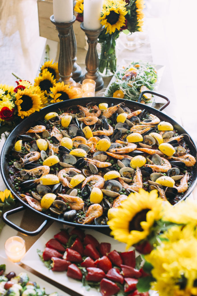 Paella with sunflowers